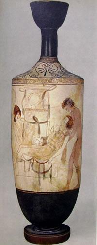 Pittore di Thanatos: Lekythos con Hipnos e Thanatos