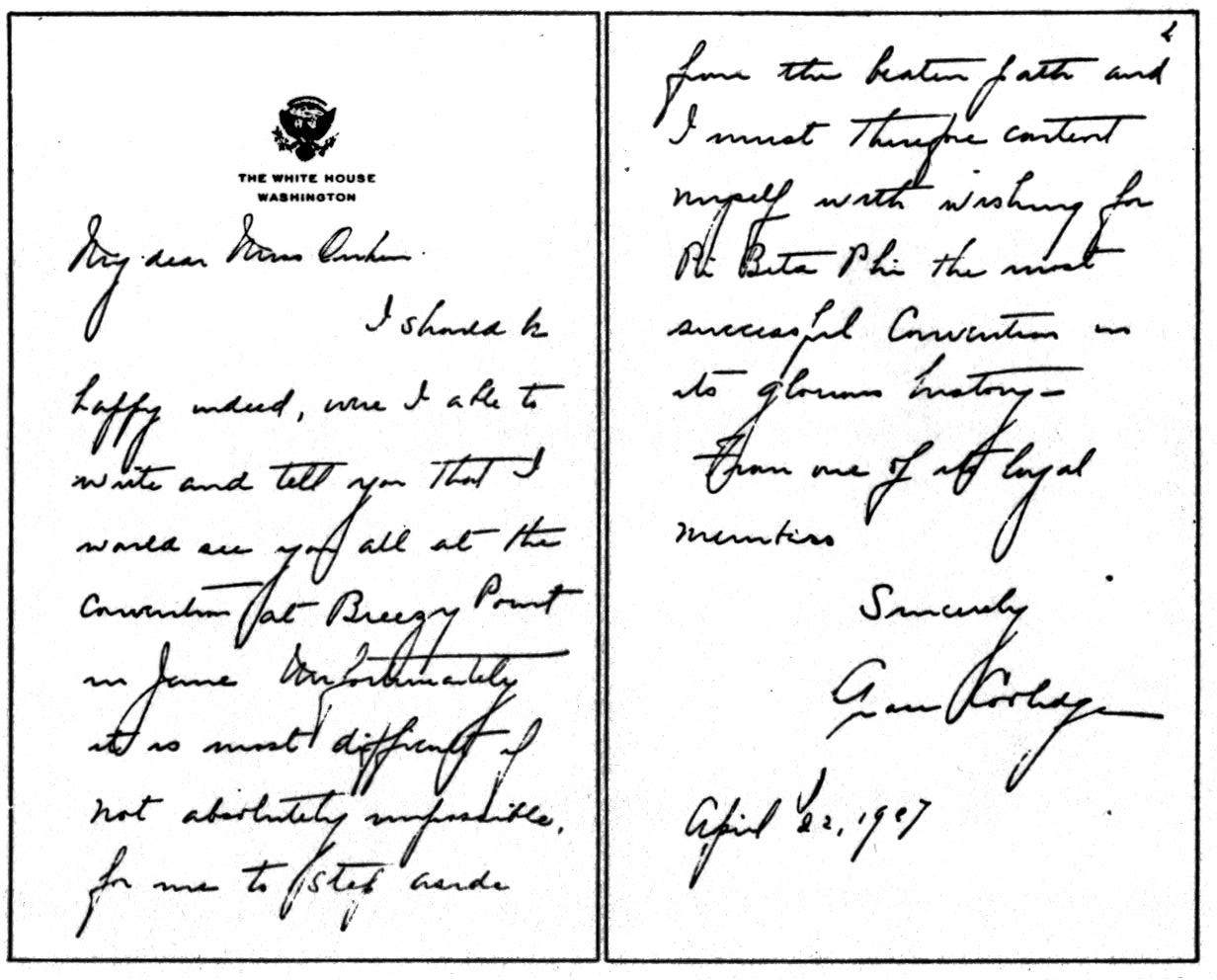 Letter from Grace Coolidge