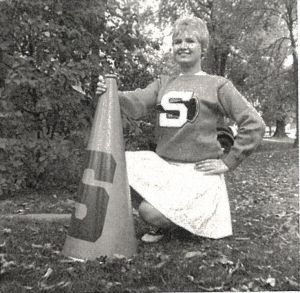 Fashion icon Betsey Johnson as a Syracuse University cheerleader.