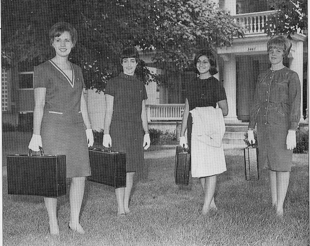 Alpha Xi Delta Field Counselors, 1966. Note the gloves and bulky briefcases!