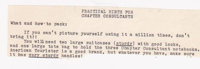 Packing hints for the 1974 Alpha Gamma Delta consultants