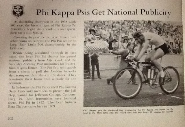 Yearbook article about the 1959 Little 500 courtesy of 1959 Arbutus)