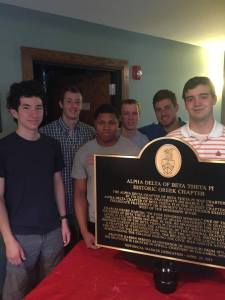 The Alpha Delta chaper of Beta Theta Pi with the marker before it was installed (photo courtesy of Beta Theta Pi)