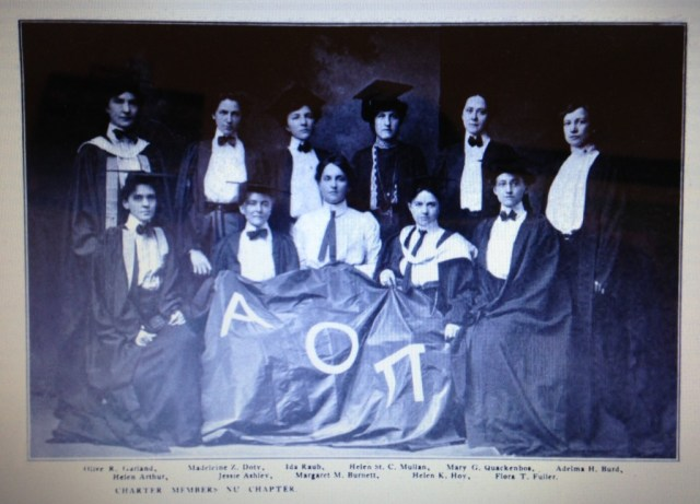 The members of AOPis Nu Chapter. Doty is the second from the left in the top row.