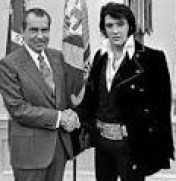 Richard Nixon whose birthday is January 9, with Elvis Presley, whose birthday is January 8.