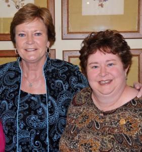 Pat Summitt and her Chi Omega sister Lyn Harris, Chi Omega's Archivist.
