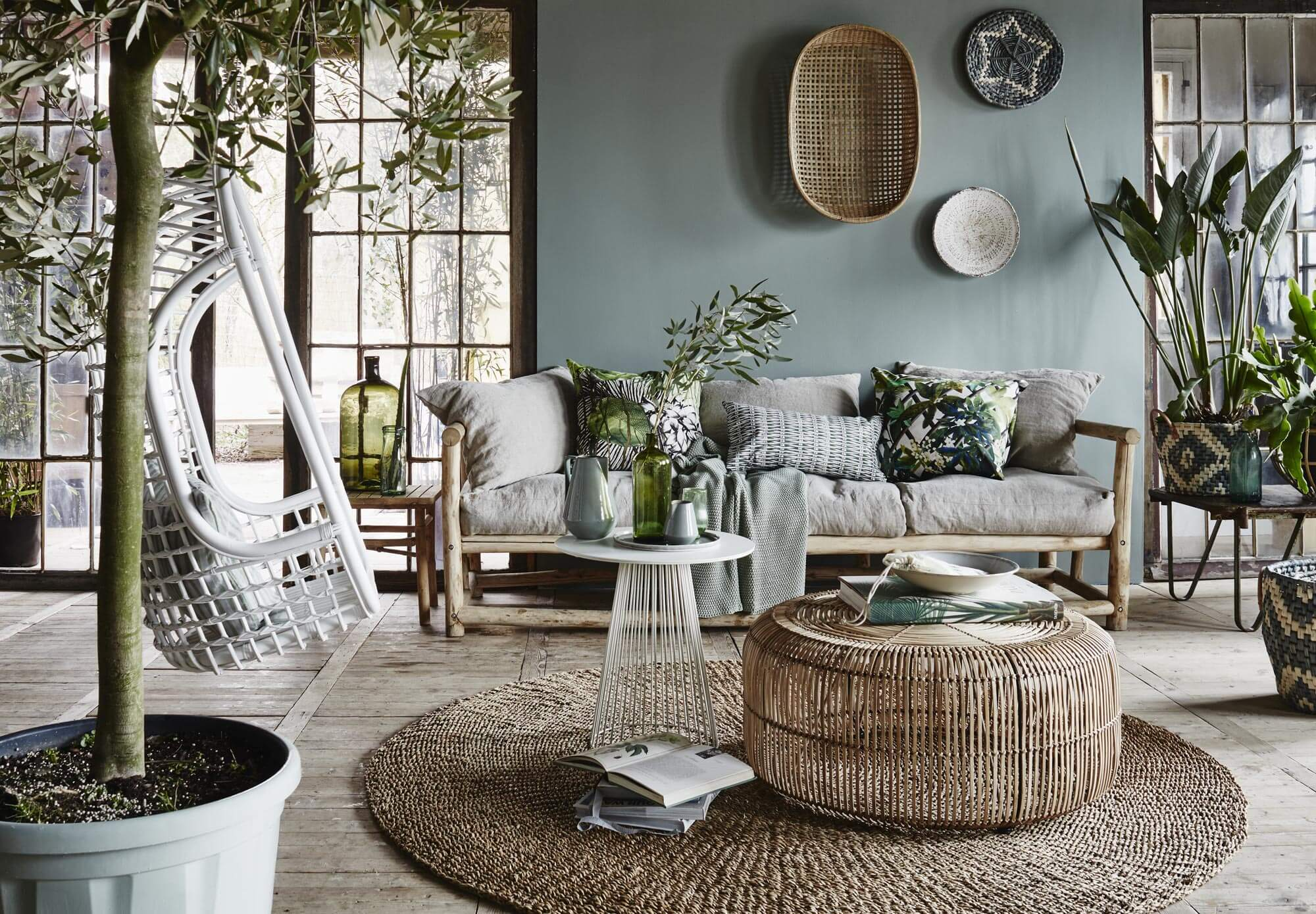Looks for Less:  Calm, Gray Plant-filled Living Room (of my dreams)