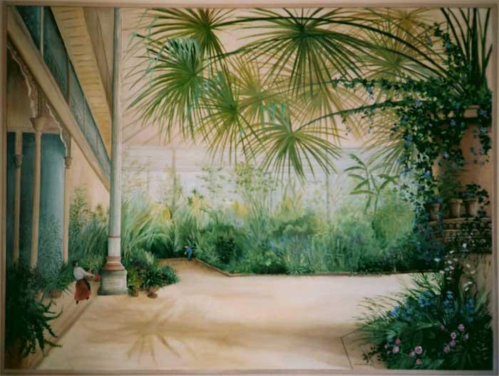 Peinture panoramique Trompe loeil panoramique decoration murale Odile JacenkoRigaudiere