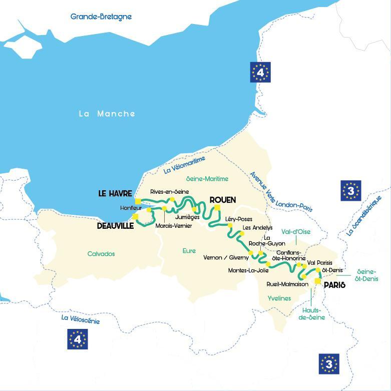 carte de paris à la mer en vélo