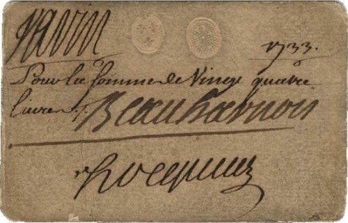 Monnaie de carte de 24 livres (1733) de la Nouvelle-France