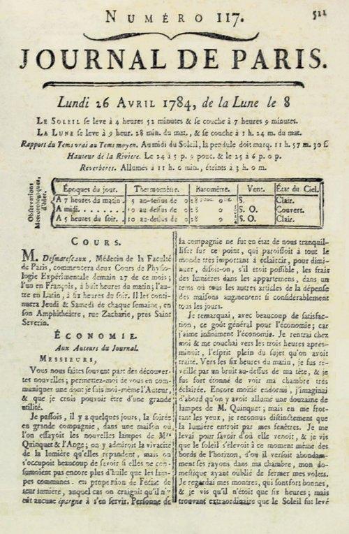 Lettre de Franklin dans le Journal de Paris du 26 avril 1784