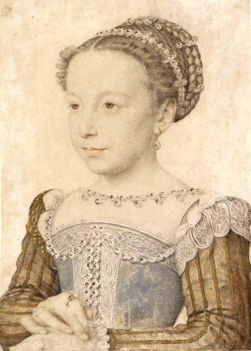 Marguerite de Valois, fille de Henri II, soeur de Charles IX et femme du futur Henri IV. Dessin de François Clouet (1559)