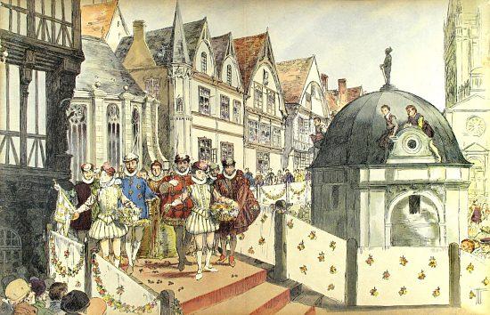 Mariage de Marguerite de Valois et de Henri de Navarre, futur Henri IV. Illustration d'Hermann Vogel (1907)