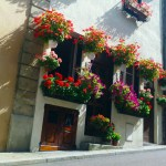 Old street in Autun and geraniums on the windows
