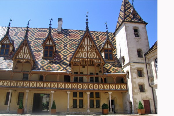Tiled roof in Dijon. burgundy region france