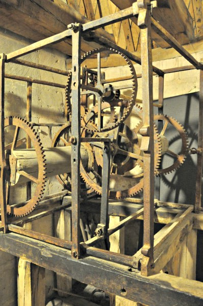 Inside workings of the clock.