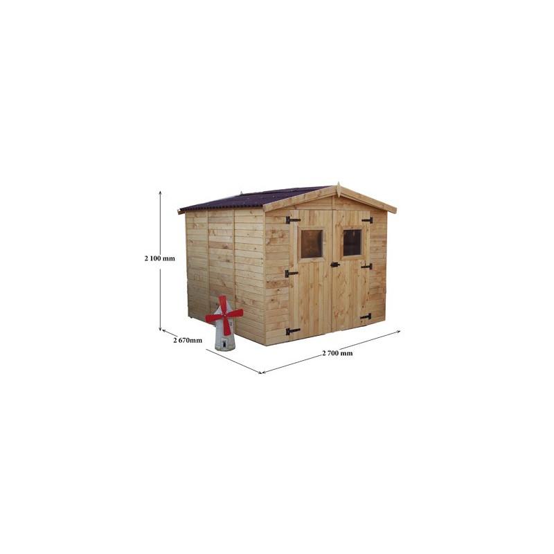 abri jardin panneaux bois 16 mm 2 70 x