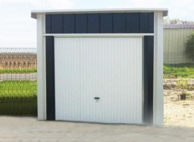 GARAGE METAL 3x5m  Un portail une pente et une couverture en acier galvanis