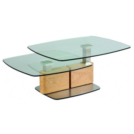 table basse de salon inox bois verre