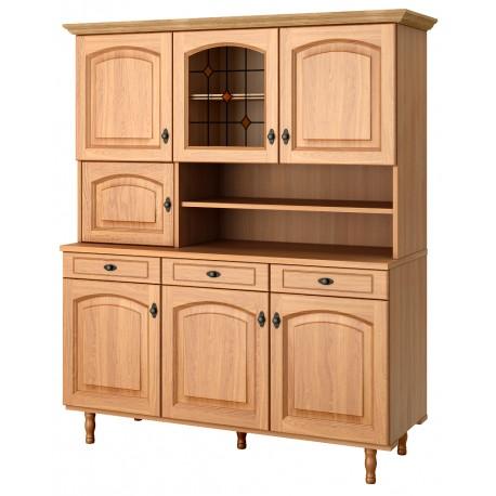meuble buffet cuisine avec porte vitree et portes pleines en chene clair de ferrare