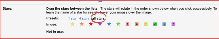 Gmail multi star feature