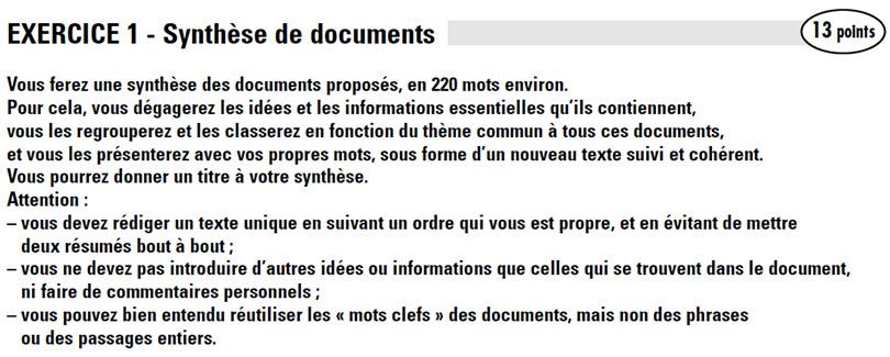 Consigne synthèse de documents DALF C1