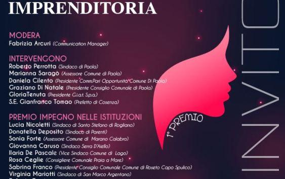 Paola, 'Premio 8 marzo' alle donne che si distinguono nelle istituzioni, nel giornalismo e nell'imprenditoria calabrese