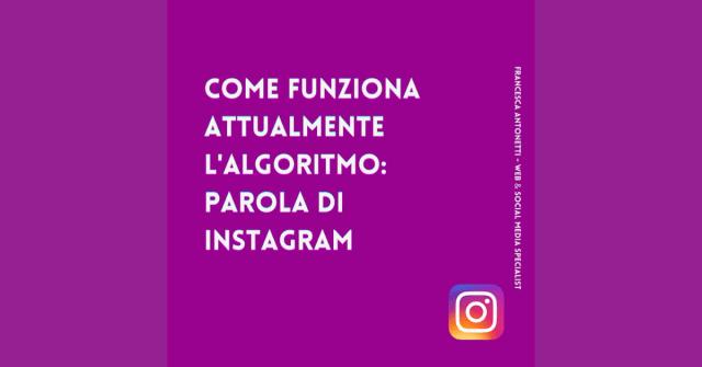 Come funziona attualmente l'algoritmo di Instagram - Francesca Antonetti digital startegist