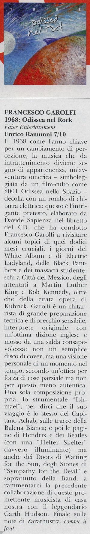Francesco Garolfi Rockerilla 1968 Odissea nel Rock