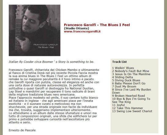 Francesco Garolfi Enesto De Pascale Il popolo del blues The Blues I Feel