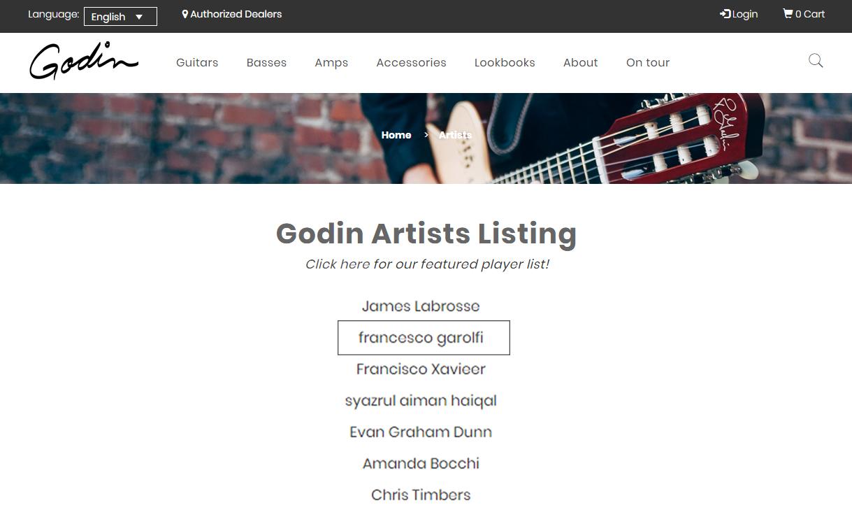 Francesco Garolfi Godin Guitars Artist