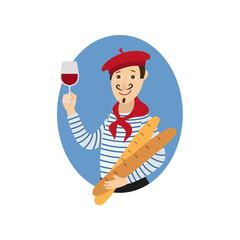 frances con vaso de vino y pan