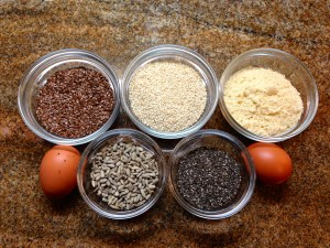 The ingredients for the wholegrain biscuit recipe.