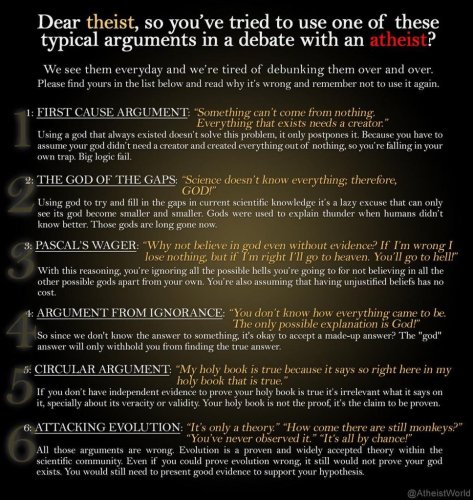 list of 5 arguments against atheism