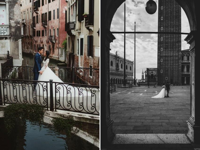 venice wedding photographer / sunrise pre wedding / bride groom vertical portrait