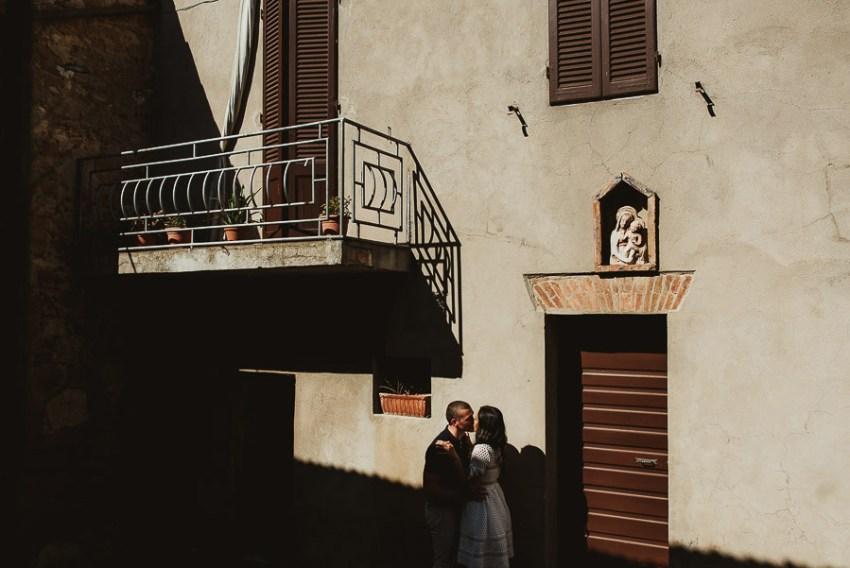 Wedding proposal inspiration portrait in Tuscan village