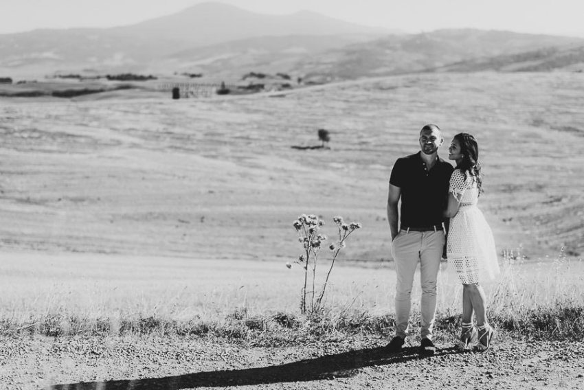 Wedding proposal inspiration creative portrait in tuscan country