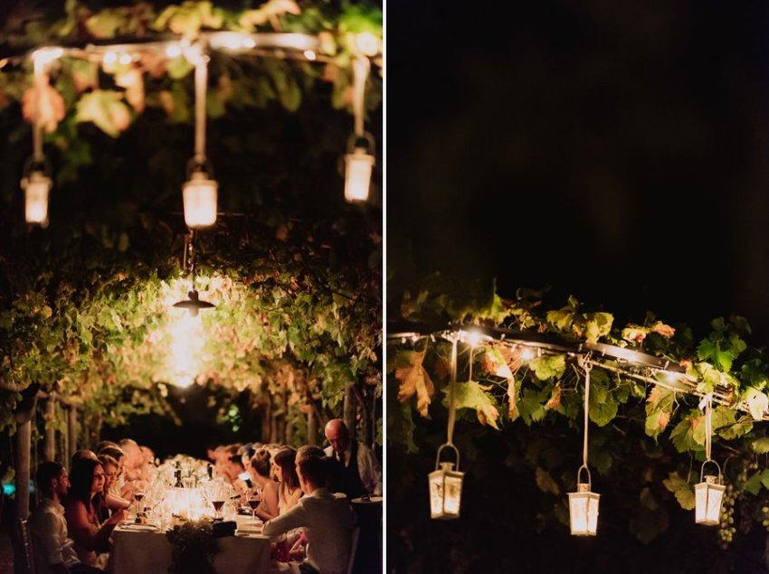 luxury wedding photographer umbria italy outdoor evening dinner