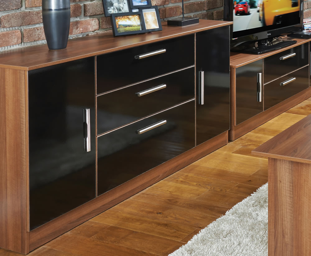 Ursula Black And Walnut 2 Door 3 Drawer Sideboards