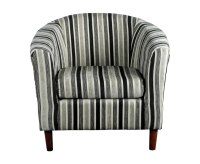 Carey Black and White Striped Tub Chair - UK delivery