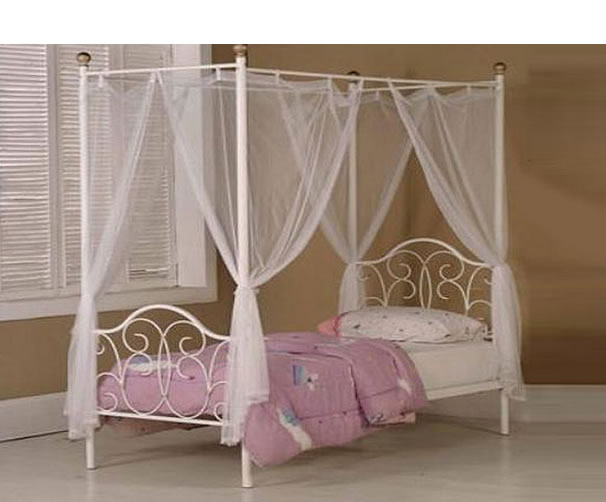 Princess 4 Poster Childrens Metal Bed Frame Single Size 3ft