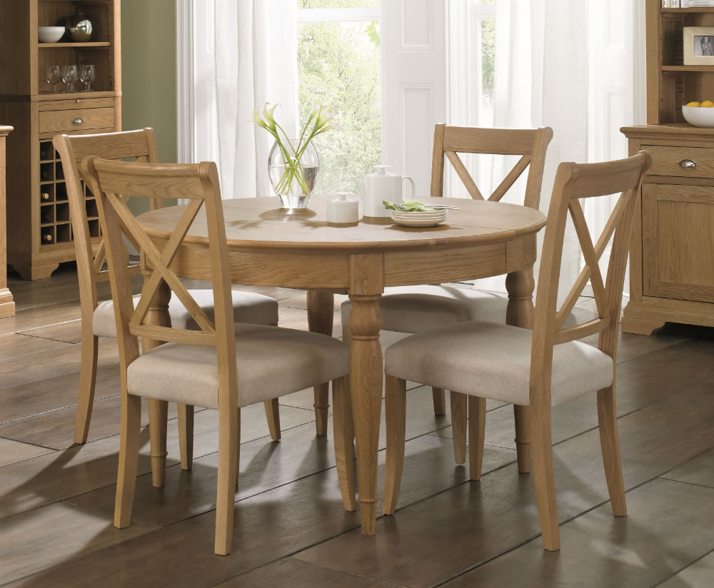 Hampstead Oak 120cm Extending Dining Table and Chairs  UK
