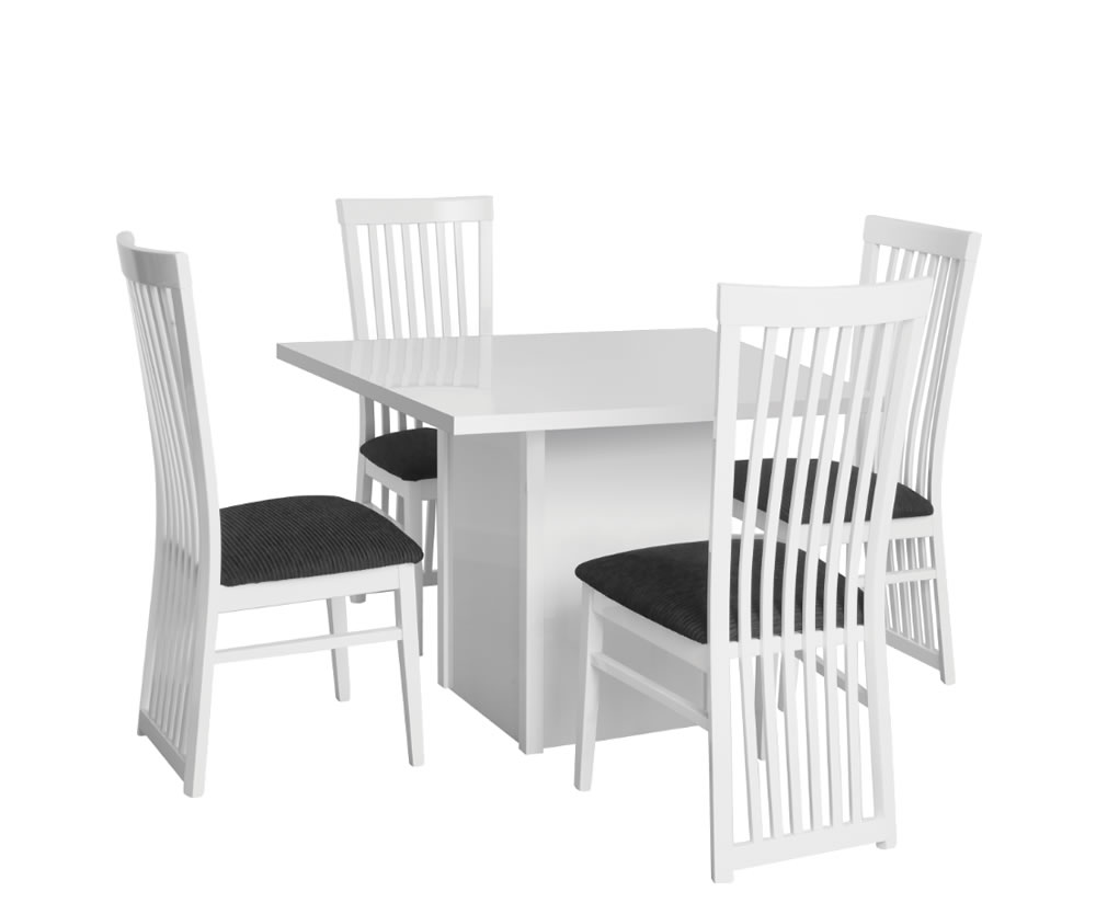 Theo White High Gloss Kitchen Table and Chairs
