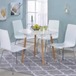 Kitchen Table Round Cost Of A New Madagascar White Fold Up Breakfast Set Swan And Chairs