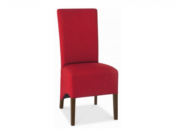 Nina Walnut and Red Upholstered Dining Chair