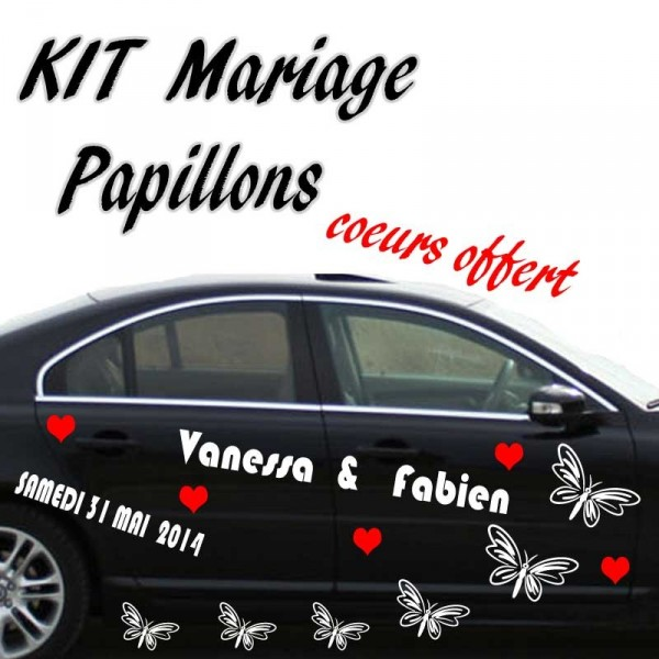 stickers Mariage voiture Papillons  FRANCE STICKERS