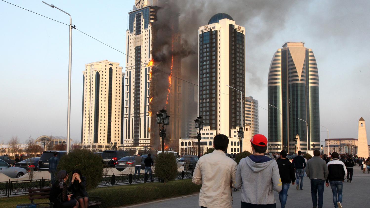 VIDEO A Grozny la rsidence offerte  Grard Depardieu a pris feu