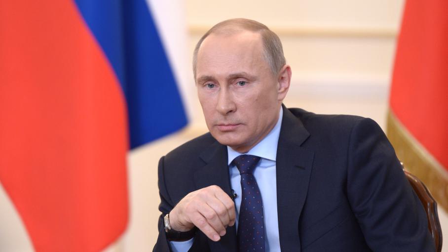 Vladimir Poutine, le 4 mars 2014, lors d'une conférence de presse àNovo-Ogaryovo (Russie).