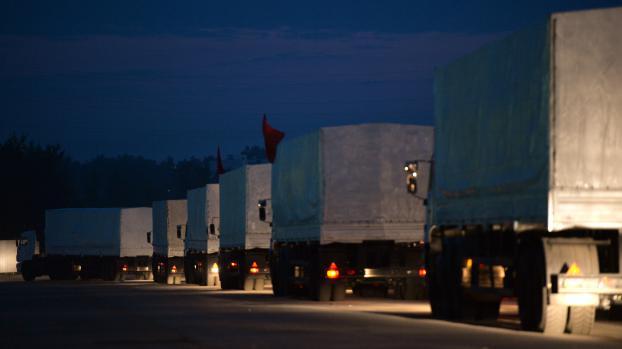 Partis de Russie,280 camions sont en route, mardi 12 août, vers la frontière ukrainienne.