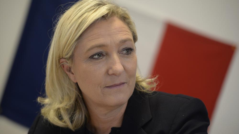 Marine Le Pen, lors d'une visite àChâlons-en-Champagne(Marne), le 11 novembre 2014.
